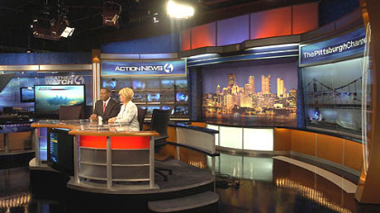 Anchors Andrew Stockey and Kelly Frey rehearse at WTAE's new anchor desk.