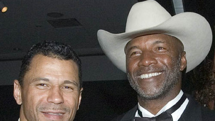 Former Steelers Rod Woodson, left, and Mel Blount, at the Steelers 75th Season Gala event at the David L. Lawrence Convention Center.