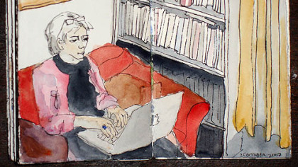 A self-portrait of Elizabeth Perry, of Friendship, who posts sketches of her daily life on her blog, at www.elizabethperry.com.