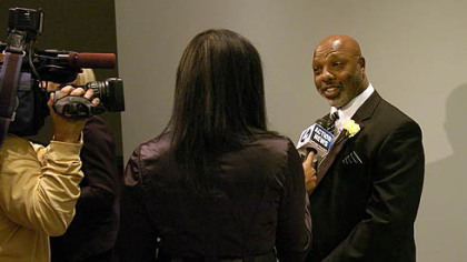Former Steeler Donnie Shell talks to the media at the Steelers 75th Season Gala at the David L. Lawrence Convention Center.