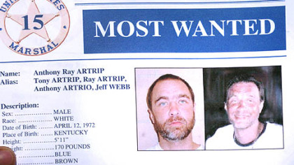 A copy of the U.S. Marshal&#039;s &quot;Most Wanted&quot; sheet for Anthony Ray Artrip.