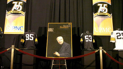 Art Rooney Sr.'s portrait is displayed at the Steelers 75th Season Gala at the David L. Lawrence Convention Center.