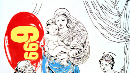 "Andy Warhol's ""Raphael Madonna == $6.99"" was reproduced on the program of his memorial service at St. Patrick Cathedral."