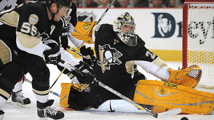 Goalie Marc-Andre Fleury faced 35 shots while losing for the third time this season.