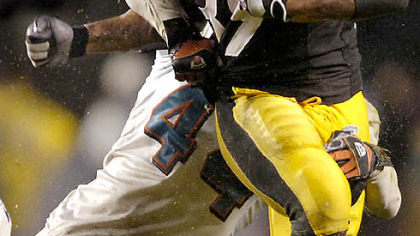 Willie Parker will not wear rubber arm sleeves Sunday against the Patriots because a fan asked him not to. (vs. Bengals 12/03/2007)