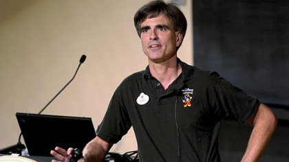 Randy Pausch talks to the standing room only crowd at CMU's McConomy auditorium yesterday.