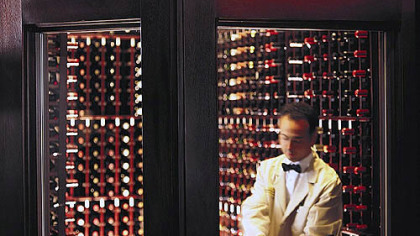 The Capital Grille's stores include wine cellars such as this.