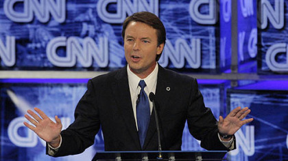 Former Sen. John Edwards, D-N.C., answers a question during the Democratic presidential candidates&#039; debate at the University of Nevada in Las Vegas, on Nov. 15, 2007.