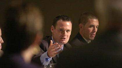 Mayor Luke Ravenstahl meets the Post-Gazette&#039;s editorial panel. At right is Ryan Scott, candidate for the Socialist Workers Party.