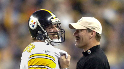 Roethlisberger shares a moment with coach Bill Cowher in the closing seconds of Super Bowl XL.
