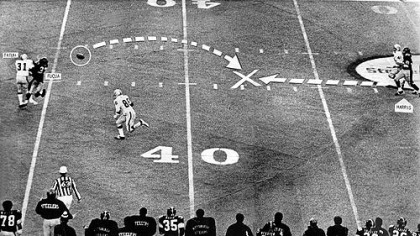The Immaculate Reception as it ran in the Dec. 24, 1972, Pittsburgh Press. Jack Tatum and Frenchy Fuqua collide, the ball caroms back, and Franco Harris, far right, swoops in for history.