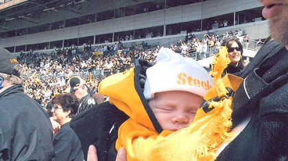 At age 2 months, Tré Rivers Kemerer, of Lancaster, Ohio, attends his first Steelers game on Sept. 16 at Heinz Field, close to where his namesake, Three Rivers Stadium, once stood.