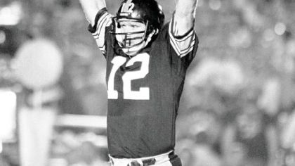 Steelers quarterback Terry Bradshaw throws up both his arms and indicates his team is No. 1 after the Steelers won their fourth Super Bowl over the Los Angeles Rams, in Pasadena, Calif., in 1980.