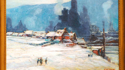 The Carrie Furnaces in Rankin on a chilly winter's day in 1912, painted by Arthur Watson Sparks.