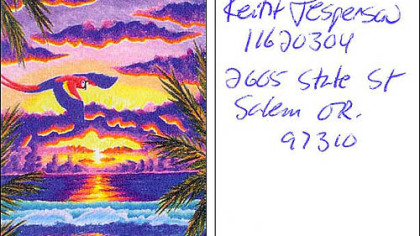 Front and back of artwork by serial killer Keith Jesperson, sent to Duquesne University students. Mr. Jesperson hoped the students would purchase artwork from him.