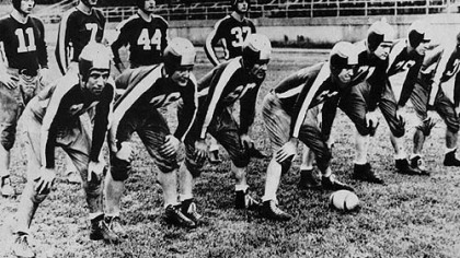 "This 64-year-old photograph of members of the football team called the ""Steagles"" was made when World War II was at its height and American sports were at their deepest depths. Because of the wartime scarcity of players, the team was formed with a combination of Pittsburgh Steelers and Philadelphia Eagles, this the ""Steagles."""