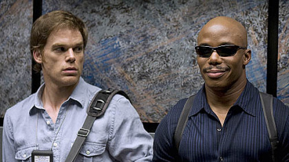 Michael C. Hall as Dexter and Erik King as Sgt. Doakes before everything exploded on &quot;Dexter.&quot;