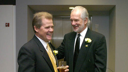 Former Steeler Gary Anderson talks with Steeler Jack Hamm at the Steelers 75th Season Gala at the David L. Lawrence Convention Center.