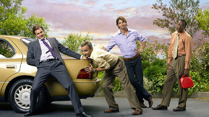 """Carpoolers"" stars Tim Peper as Dougie, Fred Goss as Gracen, Jerry O'Connell as Laird and Jerry Minor as Aubrey."