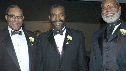 Former Steelers Dwight White, Joe Green, and L.C. Greenwood at the Steelers 75th Season Gala at the David L. Lawrence Convention Center.