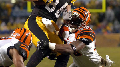Wide receiver Hines Ward pulls in a pass as he&#039;s taken down by Bengals free safety Madieu Williams. (vs. Bengals 12/02/2007)