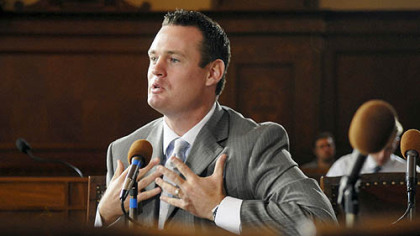 Mayor Luke Ravenstahl answers questions from the Ethics Hearing Board at City Council Chambers yesterday.