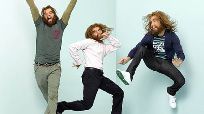 """Cavemen"" stars Bill English as Joel, Nick Kroll as Nick, and Sam Huntington as Andy."