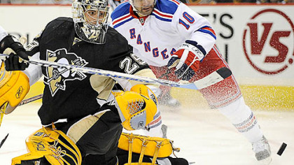 Marc-Andre Fleury makes one of his 36 saves last night.