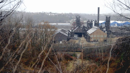 The old Carrie Furnaces along the Monongahela River are seen from Rankin on Sunday.