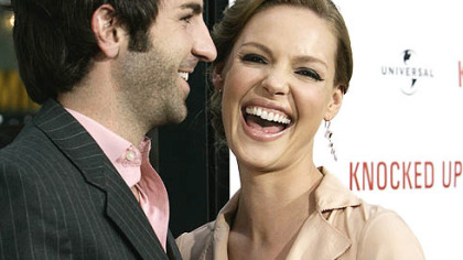 "Katherine Heigl and Josh Kelley appear at the premiere of her movie ""Knocked Up"" in Los Angeles on May 21. They exchanged wedding vows on Sunday."