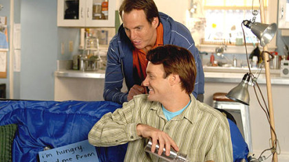 Will Arnett (top) and Will Forte are in a race to procreate in the shallow comedy &quot;The Brothers Solomon.&quot;