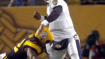 Linebacker James Harrison sacks Ravens quarterback Steve McNair forcing a fumble which Harrison recovered in first quarter.(vs. Ravens 11/05/07)