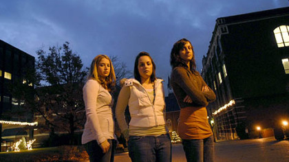 Duquesne students, from left, Lyndsie Schantz of Lower Burrell, Natalie Sciulli of Crafton and Cara Spencer of Greensburg spearheaded a project writing letters and speaking to serial killer Keith Hunter Jesperson.