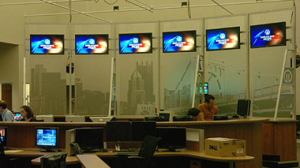 The new Channel 11 newsroom in Ross Township.