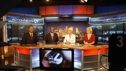 WTAE's morning news team -- meteorologist Demetrius Ivory, anchors Andrew Stockey and Kelly Frey and traffic reporter Melanie Taylor -- rehearse on the station's new set at the Channel 4 studio in Wilkinsburg yesterday.
