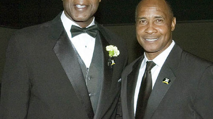 Former Steelers Bennie Cunningham and Lynn Swann at the Steelers 75th Season Gala at the David L. Lawrence Convention Center.