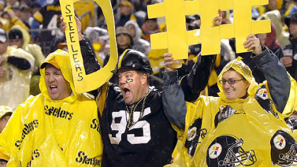Steelers fans get ready for some defense against the Ravens in the first quarter.(vs. Ravens 11/05/07)
