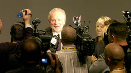 Former Steeler Jack Ham talks to the media at the Steelers 75th Season Gala.