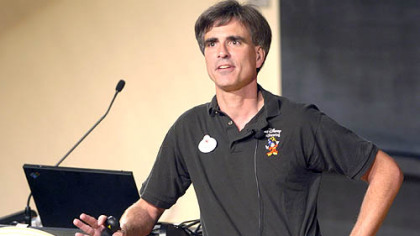Randy Pausch talks to the standing room only crowd at CMU's McConomy auditorium in his final lecture at the school on September 18, 2007.