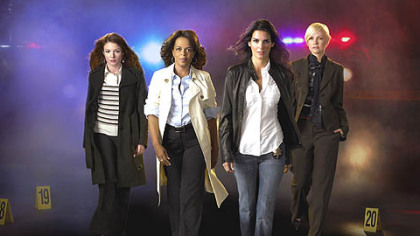 "Aubrey Dollar, left, Paula Newsome, Angie Harmon and Laura Harris form the ""Women's Murder Club,"" premiering Friday on ABC."