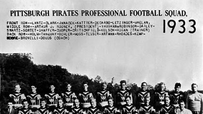  A 1933 team photo from the first year and the Steelers were named Pittsburgh Pirates. The city of Pittsburgh emblem is on their jerseys.
