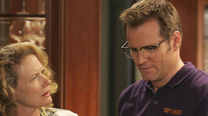 "Jack Coleman's ""Heroes"" character is a copy guy. He's shown with Ashley Crow."