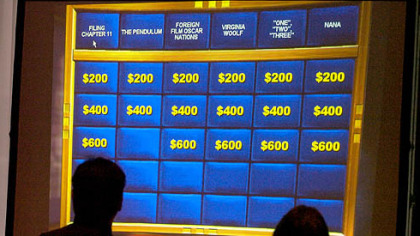 "Contestants play a sample round during the ""Jeopardy"" tryouts yesterday at the Westin Convention Center hotel."