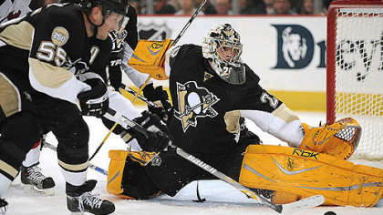 Fleury makes a save against the Devils.