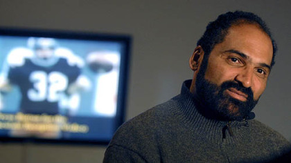 "Steelers great Franco Harris spoke about the ""Immaculate Reception"" while a videotape of the famous play looped in the background at the Senator John Heinz History Center in the Strip District on Friday, Dec. 21, 2007."